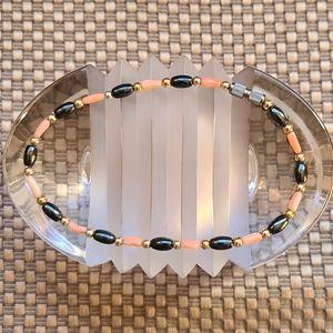 Ankle bracelet w/ coral, hematite & gold